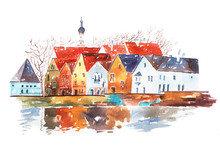 Watercolor Illustration Of Hou...