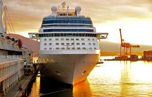 Celebrity Cruises Cruiseship Or Cruise Ship Liner Solstice In Port Of Vancouver, Canada During Sunrise After Cruise To Alaska