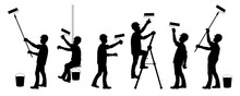 Silhouettes Of Construction Workers. The Painter In Different Positions At Work. Vector Illustration On White Background