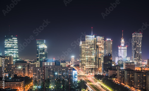 Warsaw downtown at night, Poland. Wide angle