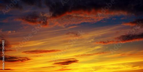 Fototapety, obrazy: Photo of orange sunset with dark clouds on sky