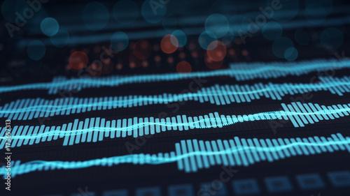 Photo  Digital audio waves on screen