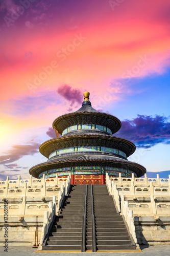 Keuken foto achterwand Peking Temple of Heaven landscape at sunset in Beijing,chinese cultural symbols