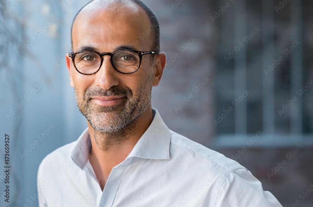 Fototapety, obrazy: Mature mixed race man smiling
