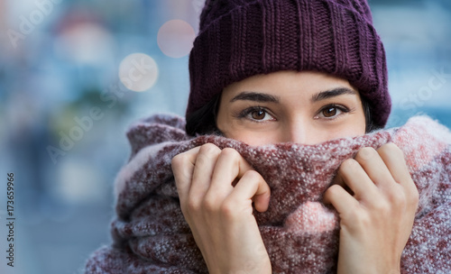 Woman feeling cold in winter Canvas Print