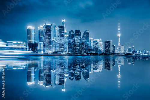 Shanghai skyline panorama,landmarks of Shanghai with Huangpu river in China Poster