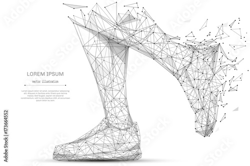 Fotografía  Abstract mash line and point feet in sneakers running on white background with an inscription