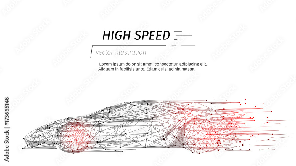 Fototapeta sport car with polygon line on abstract background. Polygonal space low poly with connecting dots and lines. Connection structure. Vector speed concept background.