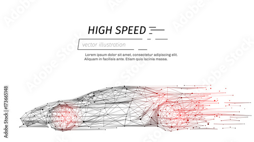 Fototapeta sport car with polygon line on abstract background. Polygonal space low poly with connecting dots and lines. Connection structure. Vector speed concept background. obraz