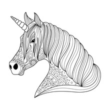 Drawing Unicorn Zentangle Style For Adult And Children Coloring Book, Tattoo, Shirt Design, Logo, Sign. Stylized Illustration Of Horse Unicorn In Tangle Doodle Style