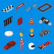 Racing Sport Icon Set Isometric View. Vector