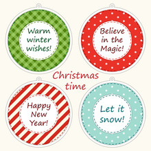 Christmas Labels In Shabby Chic Style As Polka Dot ,plaid And Striped Christmas Balls
