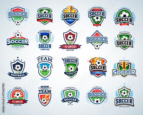 soccer logo templates set football logotypes set of soccer