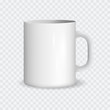 Realistic White Ceramic Cup on a Transparent Background. Vector