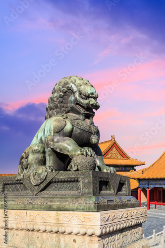 Bronze Lion At The Forbidden Citybeijingchinese Cultural Symbols