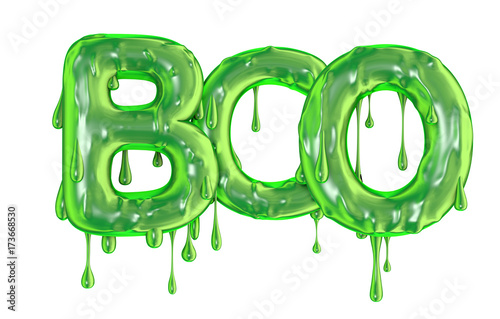 Valokuvatapetti Boo word made from green dripping slime halloween letters