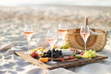 Refreshing  Rosa Wine In A Glass . Beach Cheers Celebration Friendship Summer Fun Dinner Concept.