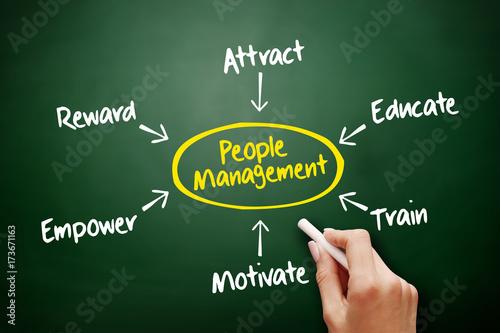 Fotografie, Obraz  People Management mind map, business concept on blackboard