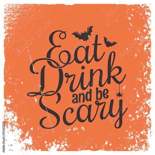 La pose en embrasure Halloween Halloween party vintage lettering background.