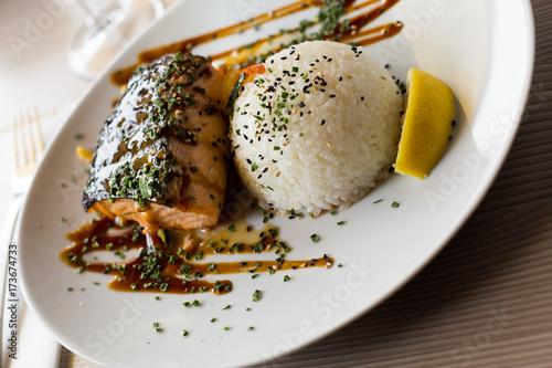 Tuinposter Klaar gerecht served fish fillet with rice
