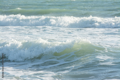Deurstickers Water mediterranean sea waves breaking background, green water