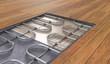 Leinwanddruck Bild - Underfloor heating system under wooden floor. 3D rendered illustration.