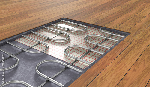 Fotomural Underfloor heating system under wooden floor