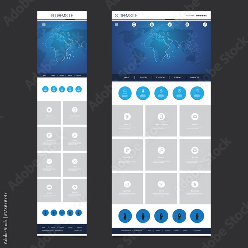 Responsive One Page Website Template - Header Design with