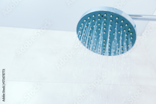 Close up of shower head in the bathroom