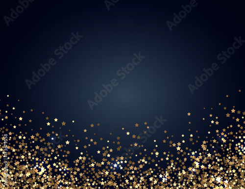 Festive horizontal Christmas and New Year background with gold glitter of stars. Vector illustration. Fototapete