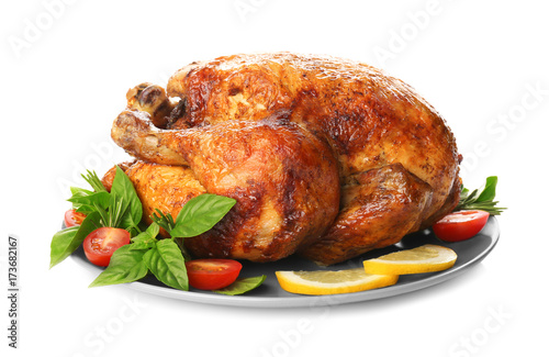 Fotobehang Kip Plate with roasted turkey on white background