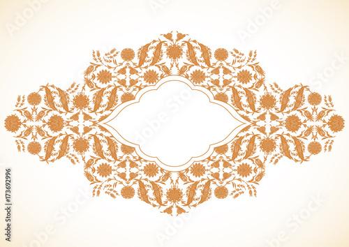 44306f9385c5 Arabesque vintage gold decor ornate pattern for design template vector.  Eastern motif. Floral Border
