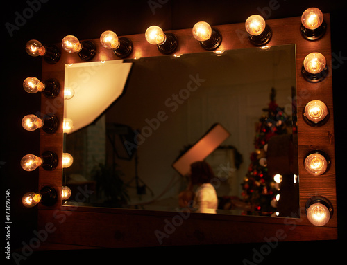 Vászonkép mirror in the dressing room with light