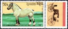 R.P. KAMPUCHEA - CIRCA 1989: A Stamp Printed In R.P. Kampuchea Shows A Breton Horse, Series Breeds Of Horses