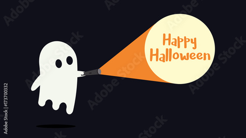 Cute ghost character just found the Happy Halloween message with his flashlight Wallpaper Mural