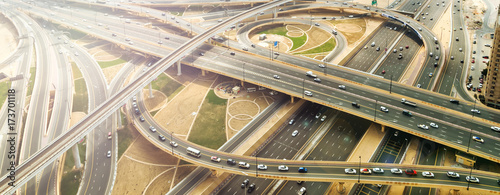 Fotografie, Tablou city traffic of highway and bridge
