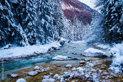 Fototapeta Winter in Vrata valley, Julian alps, slovenia. obraz