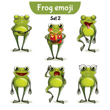 Vector Set Of Cute Frog Charac...