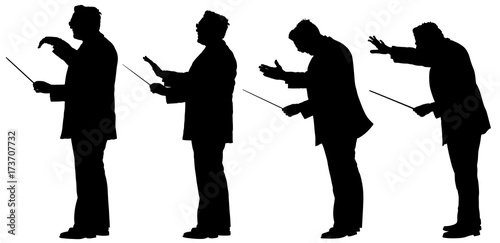Photo Group of Music conductor vector silhouette illustration isolated on white background
