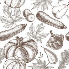 Decorative Seamless Pattern With Ink Hand Drawn Pumpkins, Pears, Zucchini And Maple, Oak Leaves. Autumn Harvest Elements Texture. Vector Illustration.