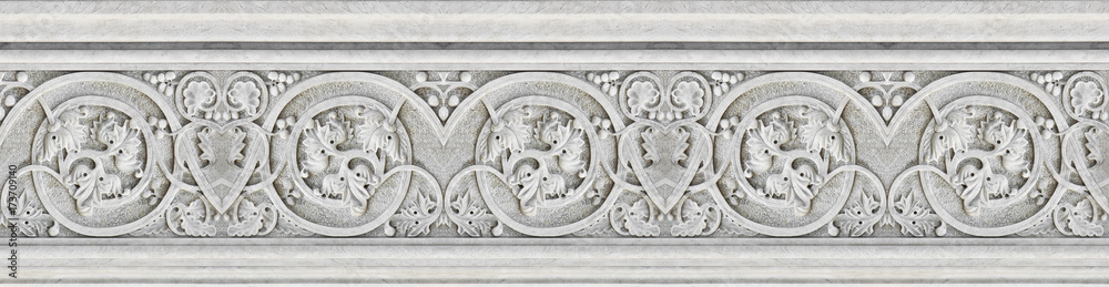 Fototapety, obrazy: Detail of an old Italian molding stone eaves with foliage and plants