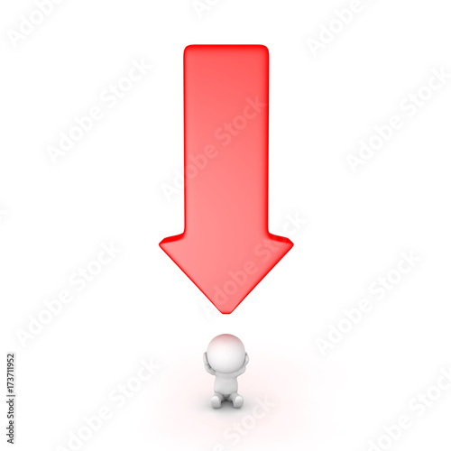 Arrow Pointing Down >> 3d Character Stressed With A Big Red Arrow Pointing Down At Him