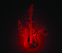 Abstract Red Electric Guitar W...