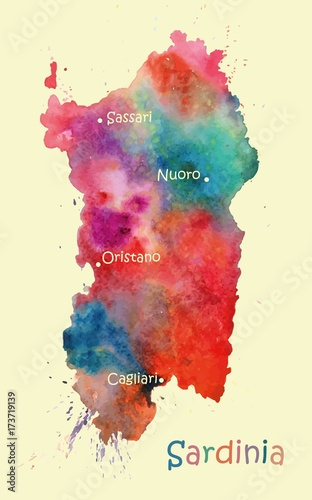Photo  Stylized map of the Italian island of Sardinia