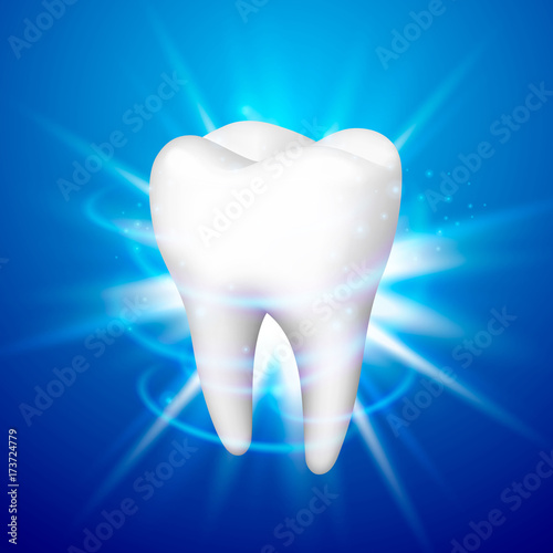 Tooth On A Blue Background Template Design Element Vector