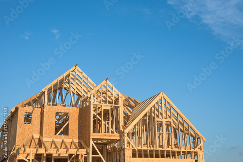 Close-up of gables roof on stick built home under