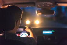 The Man Drive A Car. Evening N...