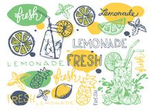 Hand Drawn Doodle Summer Illustration With Lemonade. Summer Drink