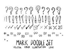 Set Of Mark Doodle Illustration Hand Drawn Sketch Line Vector Eps10