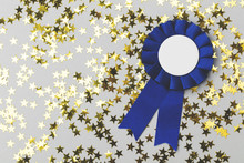 First Place Award Rosette With Gold Stars. Success Achievement Concept